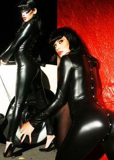 Image of Black Faux Body Cat Suit