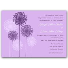 Dandelions Lilac Wedding Invitations