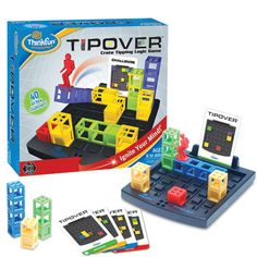 You'll flip over TIPOVER! This three-dimensional multi-level challenge game will delight problem solvers at any skill level. To start, set up crates of different colors and heights on the game grid to match any one of 40 Beginner-to-Expert card challenges. Next, tip over the crates to connect your Tipper to the red crate, which is your final destination on the card. There's a catch; your Tipper can't jump over empty grid spaces. Only you control your fate by tipping over the right crate…