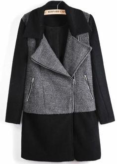 Black Contrast Grey Panel Lapel Wool Blend Coat