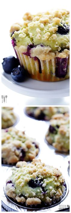 Blueberry Avocado Muffins -- healthier, moist, and completely delicious! http://gimmesomeoven.com