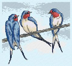 Maria Diaz Designs: SWALLOWS (Cross-stitch chart)