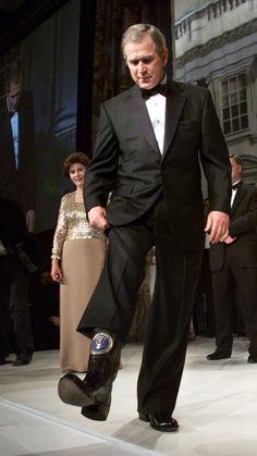 George W. Bush, 2001 wearing cowboy boots