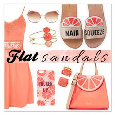"""""""Flat Sandals - Kate Spade"""" by fashionistamummy83 ❤ liked on Polyvore featuring Kate Spade, Topshop and flatsandals"""