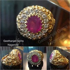 Ruby with diamomd vintage gold ring.
