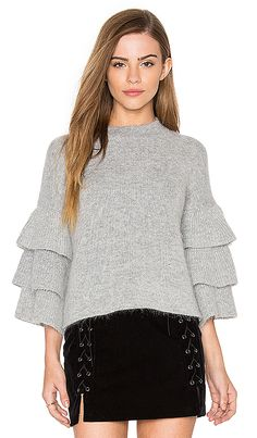 Endless Rose Exaggerated Sleeve Sweater in Grey