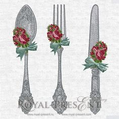 Machine Embroidery Designs VINTAGE CUTLERY  3 by RoyalPresentEmb