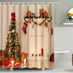 Xmas Tree Fabric Waterproof Bath Christmas Shower Curtain