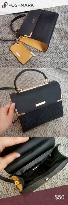 Dune London Crossbody Faux Leather Branded lining Detachable bodystrap Magnetic front flap Gold tone sides Interior zip pocket   Worn a couple times dune london Bags