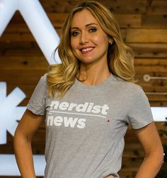 Pin for Later: 8 Gifts That Are What Geek Dreams Are Made Out Of The Ultimate Convention Hoodie and the Nerdist News T-Shirt Jessica Chobot, Newscaster, Geek Fashion, New T, Pretty Woman, Making Out, Fangirl, Geek Stuff, Beautiful Women