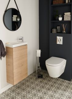 Pack Wc, Wc Design, Downstairs Toilet, Guest Bath, Bathroom Interior, Powder Room, Diy Home Decor, Sweet Home, New Homes