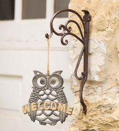 Cast Iron Owl Welcome Sign Owls from Wind & Weather on Catalog Spree, my personal digital mall. Owl Home Decor, Owl Kitchen, Owl Always Love You, Beautiful Owl, Owl Crafts, Wind Spinners, Wise Owl, Owl House, It Cast