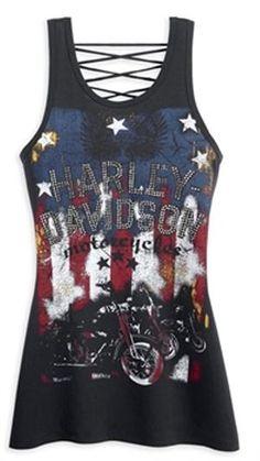 Harley-Davidson® Women's Laced Back Stars & Stripes Tank Top 96354 . Boho Chick, Biker Chick Style, Harley Gear, Motos Harley, Harley Apparel, Stem Challenge, Bobber, Biker Wear, Jüngstes Kind