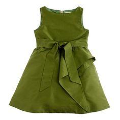 "Flower girls' silk taffeta tilly dress in ""Organic Green"" by j. crew"