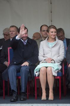 Prince Guillaume and Princess Stephanie of Luxembourg visit Esch on National Day on June 22, 2015 in Esch-sur-Alzette, Luxembourg.