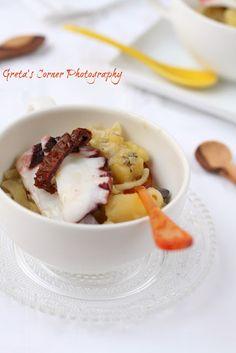 Pasta & potatoes w/octopus carpaccio Sm oct1kg,Cln in pot strt fm cold ...