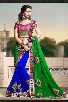 "#Latest #Trend #Sarees Another one Superb Sparkling Green and #Royal Blue Embroidered #Saree from Jaipur Kurtis  Shop now  Use Coupon Code:""FLAT20"" TO GET EXTRA 20% DISCOUNT  *Free Shipping Available"