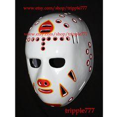 RARE Gift vintage style fiberglass nhl roller street dek air ice hockey goalie face mask helmet Doug Favell Atlanta mask HO18