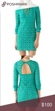 Free People green lace bodycon dress size M Authentic Free People dress - color: bold teal green- size Medium - flattering bodycon fit - cutout back - made of allover scalloped lace - (this dress is sheer and you will want to wear a slip underneath- or not, if you're brave! ) - in real life, the color is like the stock photos. I couldn't quite capture the true color with my phone. In excellent used condition with minimal wear - from a smoke free home :)  POSHJ8388FP888 Free People Dresses…