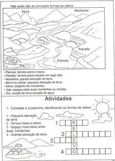 Professora Adriana Nicolodelli: Relevo - Geografia Love Games, Sistema Solar, Learning Environments, Kindergarten Math, Teaching Kids, Social Studies, Geography, Homeschool, Study