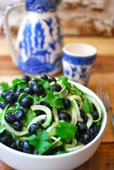 Cold Cucumber Noodles with Blueberries and Spicy Dressing