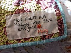 yellows - quilt for girls, use all tyhe lines from the song