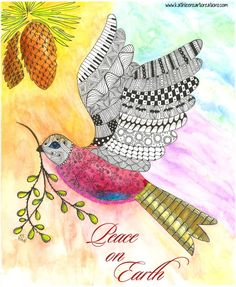"""Christmas Card """"Peace on Earth"""" finished 7-27-14.  A 12-pack of note cards are available for $23.00 with FREE shipping and handling. Prints also available."""