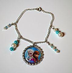 Disney Frozen bottle cap bracelet with beading 60 photo choices! Elsa Anna Charm #disney #Elsa