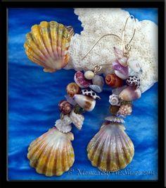 """Custom for """"Heidi"""", """"Rainbow Fantasy Sunrise Shell & Seashell"""" Earrings & Ring Set"""