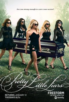 'Pretty Little Liars' Gets Another New Poster!: Photo The Liars look amazing while eerily carrying a casket with an unknown body in this new poster for the upcoming new episodes of Pretty Little Liars! The back half… Pretty Little Liars Saison, New Pretty Little Liars, Pretty Little Liers, The Pretty, Pretty Little Liars Outfits, Best Tv Shows, Favorite Tv Shows, John Coffey, Pretty Little Liars Actrices