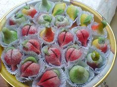 YUM - El Khoukh. Made with marzipan and a usually a cake centre. ALGERIAN SWEETS - HALWA ALGERIEN