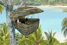 Soneva Kiri, Thailand - When all is said and done and you've built up a mighty appetite, they've also got treetop dining options for you and up to three guests in what they call, 'Tree Pods' serving organically grown produce. Waiters arrive on wires and serve up delicious meals.