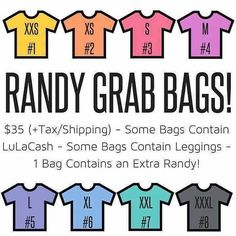 HAPPY HUMP DAY LADIES! Ahead of tonight's LIVE sale I thought we'd have a bit of fun. Who's up for a Randy Grab Bag Mystery Sale?! Each bag is $35tax and shipping and inside every one will be an AWESOME bonus of either Lula Cash Leggings or even an extra Randy! Simply click the link in our bio @lularized to join our group and claim your Grab Bag! Please note all sales are final and there will be no returns or exchanges unless in the case of defect.