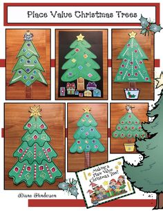 "Place Value Activities: Make a Place Value Christmas Tree. Includes 13 tree patterns, plus ones & hundreds blocks for ""ornaments"" along with  ""tens"" rods, trunks & presents & tree toppers for decorating. What a super-fun way to practice place value!"