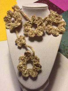 Handmade Crochet Flower Lariat Scarf/ Neklace by joywelry2love, $18.99