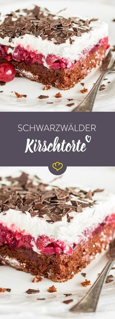 Black Forest cherry cake made from tin: quick to enjoy-Schwarzwälder Kirschtorte vom Blech: ruckzuck zum Genuss Because everyone loves black cake, because not … - Baking Recipes, Cake Recipes, Dessert Recipes, Pasta Recipes, Baking Hacks, Dessert Food, Baking Tools, Brunch Recipes, Bakery Cakes