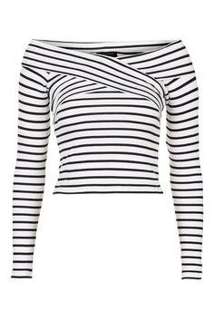 Striped Bardot Top - Tops - Clothing - Topshop USA