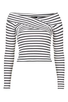 Striped Bardot Top - Tops - Clothing - Topshop USA