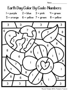 Printable Coloring Pages For Kids Earth Day Color By Number Spring Worksheet Number Worksheets Kindergarten, Fun Worksheets For Kids, Kindergarten Colors, Alphabet Worksheets, Earth Day Worksheets, Earth Day Activities, Earth Day Kindergarten Activities, Free Coloring, Coloring Pages For Kids