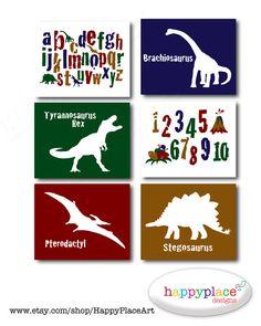 Dinosaurio alfabeto para imprimir arte de la por HappyPlaceArt
