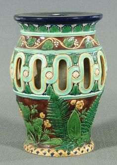 Majolica Garden Seat with Fern Leaves