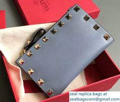 Valentino Calfskin Rockstud Coin Purse And Card Case Baby Blue