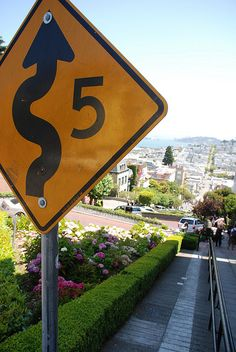 Lombard Street sign - San Francisco, CA;  photo by Alberto OG, via Flickr