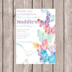 Butterfly Invitation-Butterfly Invite-Second Birthday Invite- Spring Birthday Invite- Watercolor Butterfly Birthday Invite by MaddieKatDesign on Etsy Butterfly Garden Party, Butterfly Birthday Party, Garden Birthday, Tea Party Birthday, 1st Birthday Girls, Birthday Party Invitations, Birthday Ideas, Butterfly Invitations, Thing 1