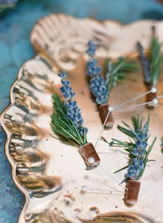 Lavender and rosemary boutonnieres.