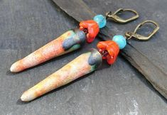 Turquoise, orange and white ceramic spike earrings, lever back ear wires Orange And Turquoise, Turquoise Beads, Handmade Jewellery, Earrings Handmade, Dangly Earrings, Organza Gift Bags, Orange Flowers, Antique Gold, White Ceramics