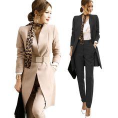 608fa61ccb OL terno versão Coreana do terno outono e inverno das mulheres temperamento  long Slim suit jacket + calças de Duas peças conjuntos em Fatos de calça de  Das ...