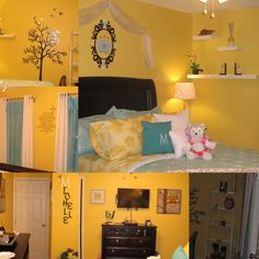 """Remembering my blessings """"Michelle's Room"""", May 2014, Client was a 9 yrs sweetie! Super fun color choices! Michelle pick a Sunny ☀️ yellow forher walls and her favorite color is light blue. So I went with it, and added White, Black and Greys to bring it all together.  Many thanks to that special family, for the opportunity and believing in me and my work! ❤❤❤"""