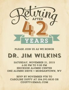 Retirement Party Invitations Templates | Beverly, Use Your Words ...