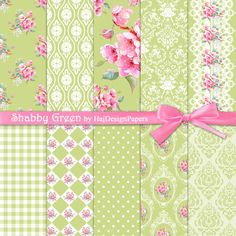 Shabby Green - Instant Download, Digital Paper, Shabby Chic, Floral Paper, Decoupage Paper, Wedding Paper, Roses, Invitations, Pattern